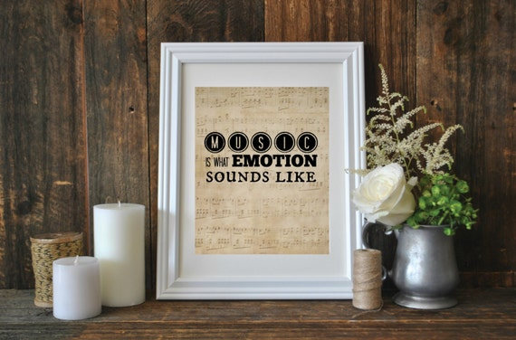 Printable Quote, Music is what Emotion Sounds Like, Music Teacher Gift, Printable Art, Music Word Art, Instant Download, Music Quote