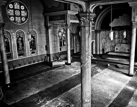 Religious Art, Church, Catholic, Sanctuary, Wood Print, Abandoned, Industrial, Rust, Wall Art, Pittsburgh, Pennsylvania