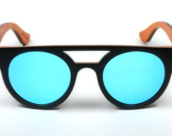 Wooden black and blue sunglasses from ebony