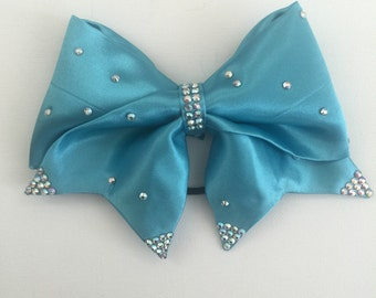 Teal handsewn fabric bling cheer bow