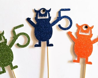 One dozen monster cupcake toppers/age cupcake toppers/monster party/monster birthday/birthday party