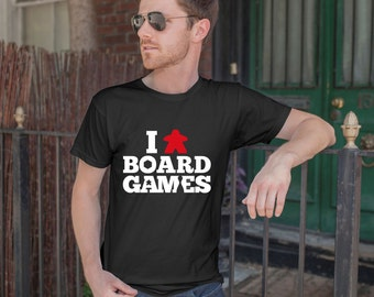 I (Meeple) Board Games Black T-shirt | Meeple Tshirts for Board Game Geeks and Tabletop Gamers | I Love Board Games Tee Shirts