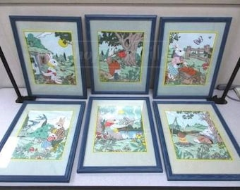6 Framed Fanciful Rabbit Cloth Prints