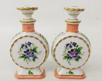 2 Antique French Porcelain Perfume Bottles