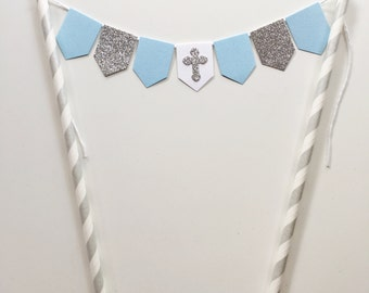 Baptism Christening Cake Topper Bunting Baby Blue White and Silver