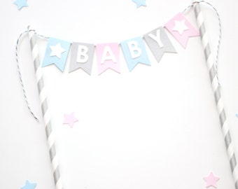 Cake Bunting Topper Baby Shower Pastel Pink, Blue and Grey