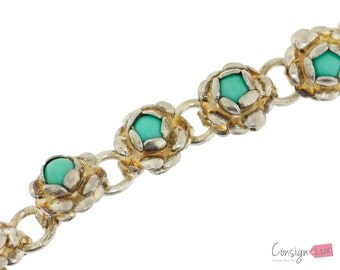 Sterling Silver Link Bracelet With Teal Accents - 5 3/4 inches long
