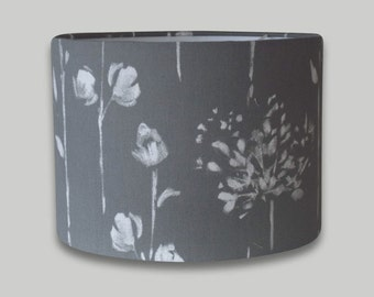 Windsor Grey White Floral Drum Lampshade Lightshade 20cm 25cm 30cm 35cm 40cm diameter available in an range of depths