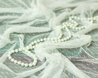 Very Soft white dotted Tulle -40 inches long X 63 inches wide