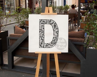 Custom letter print - letter D, monochrome print, typography art print, zentangle, zendoodle word art, alphabet letter