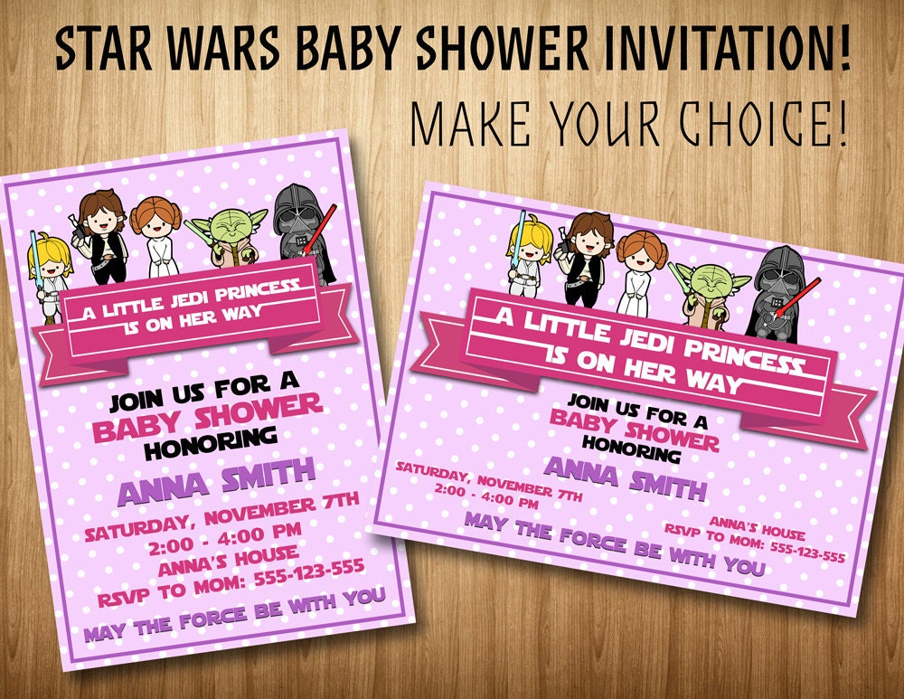 star wars baby girl shower invitation star by superinstantparty