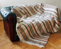 Scandinavian wool blanket, striped throw blanket, organic sheep plaid, handmade large wool blanket, big bed cover, rustic throw Three Snails