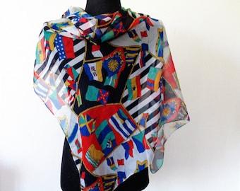 Large Scarf, Multicolor Scarf, Flag Scarf, Italian Scarf