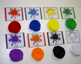 Colors matching and sorting Montessori 3-part cards--Montessori early learning educational materials