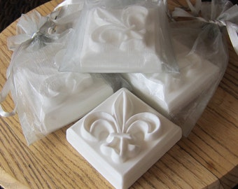 Fleur De Lis Scented Goat's Milk Soap 3.5 oz  : Wedding and Party Favors - Set of 10 with Silver Organza Bag and Customized Tag