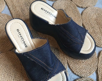 Mules shoes offset heel 90's looks 70's Bohemian hippie jean fabric leather comfortable fr 37 new