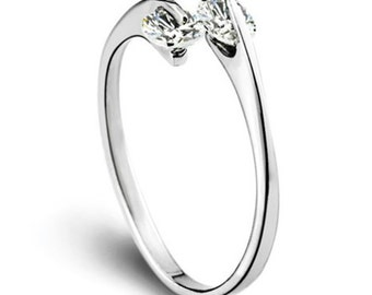 Simple Hug White Gold Plated Ring