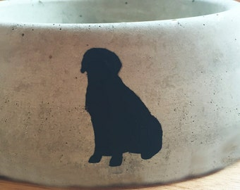 Concrete Pet Bowls with Breed Silhouette