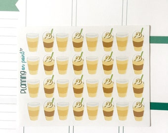 Cute Coffee And Frappacino Cups - Planner Stickers