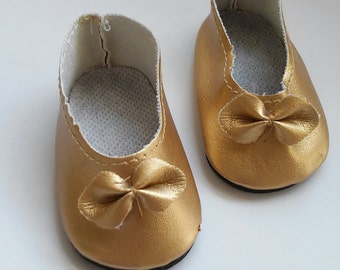 18 inch doll shoes, gold shoes, fits American girl doll