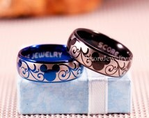 Couple Set 2 Rings Black and Blue Tungsten Bands with Domed Edge Mickey Mouse Design Pattern Rings - 8mm or 6mm Tungsten Rings