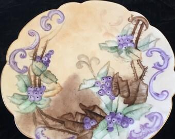 Hand painted Purple/Tan Plate   R. C. Bavaria  ca 1898-1910