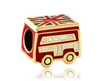 1 London British UK Gold European Beads Charm Double Decker Bus Union Jack Flag Enamel Fits European Style Bracelets - 14S