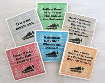 Christmas Vacation Quotes National Lampoons Christmas Vacation Coasters Griswold Family Christmas Quotes Funny Holiday Coasters - Set of 6