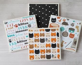 Cat Coasters Cat Tile Coasters Cat Print Cat Lover Gift for Cat Lover Cat Art Gift for Pet Present Cat Decor Cat Design Animal Print - 4