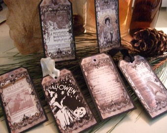 SIX Large Primitive Vintage Gothic Raven Spell Book Halloween Hang Tags / Gift Tags