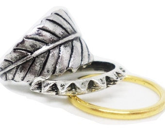 Modern Leaf and Thorn Fashion Ring Set - 3 Pieces