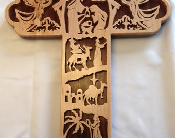 Nativity Bible Story Cross - Maple & Walnut