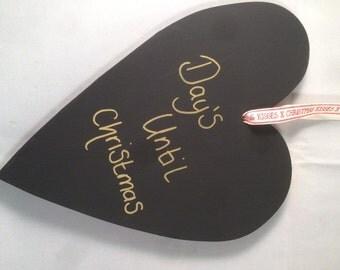 Chalkboard heart with chalk