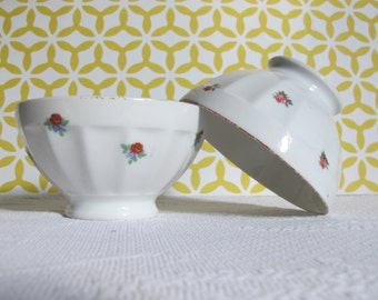 2 lovely French vintage porcelain bowls, French breakfast, French café au lait 1950