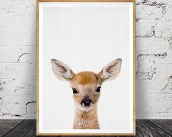 Woodlands Nursery Decor, Baby Deer Print, Fawn Wall Art, Modern Minimalist Nursery Art, ...