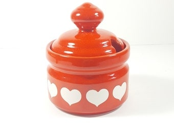 Vintage Waechtersbach Heart Pottery. Sugar Bowl with Lid. Valentine's Day, Red and White Hearts. Vintage Coffee, Kitchen Decorations.