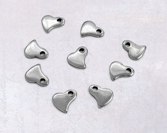 20 x Tiny 6mm Stainless Steel Heart Charms - Extender Drops