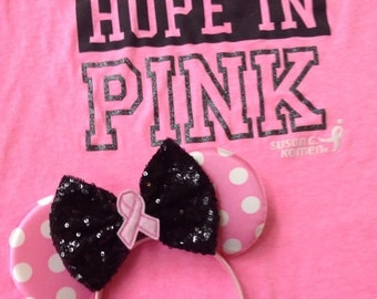 Breast Cancer Awareness inspired Mouse Ears