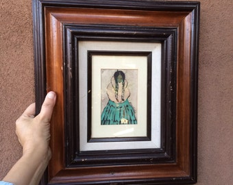 Original Early Alice Valdez Batik Artwork, 1980's, Southwestern Art Work, New Mexico Image of Navajo Woman