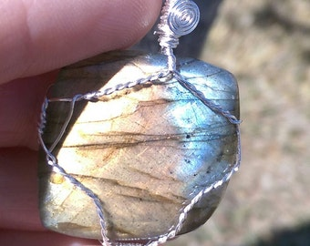Natural labradorite cab wire wrapped pendant 1.46cts