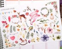Watercolor Party Planner Stickers for Erin Condren, Happy Planner, Filofax, Scrapbooking