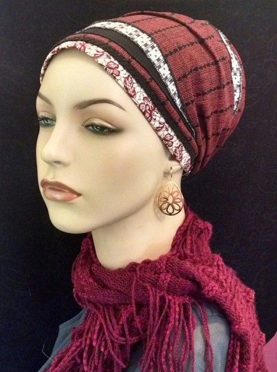 MODERN MAROON cotton and lace sinar tichel