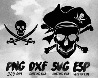 Pirate Skull Clipart , SVG Cutting , ESP Vectors files , T shirt , iron on , sticker ,Personal Use