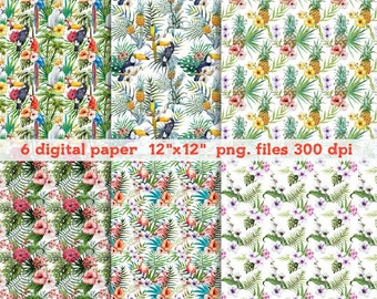 Watercolor digital paper tropical Clipart, Digital Download ,Quotes Scrapbooking, Supplies, Vectors files ,Personal Use
