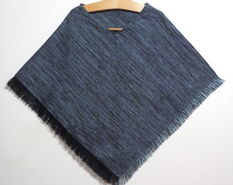 Poncho, Gray Poncho, Hand knitted Poncho, Sweater, Black and light blue Poncho, Mother's day