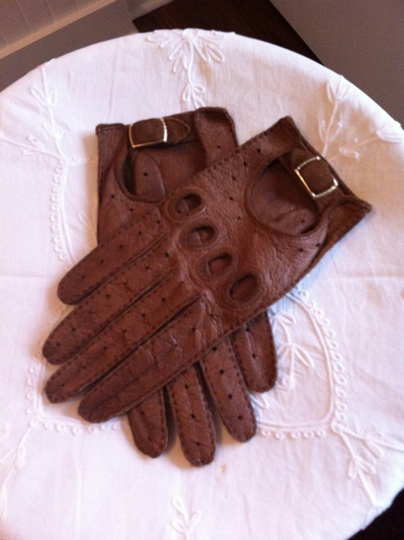 Vintage Womens Gloves Brown Leather Driving Gloves