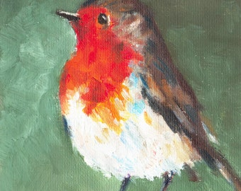 Robin IV, original oil painting print