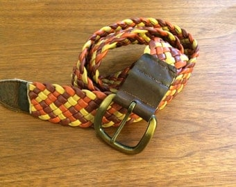 3 Color Leather Braided Belt