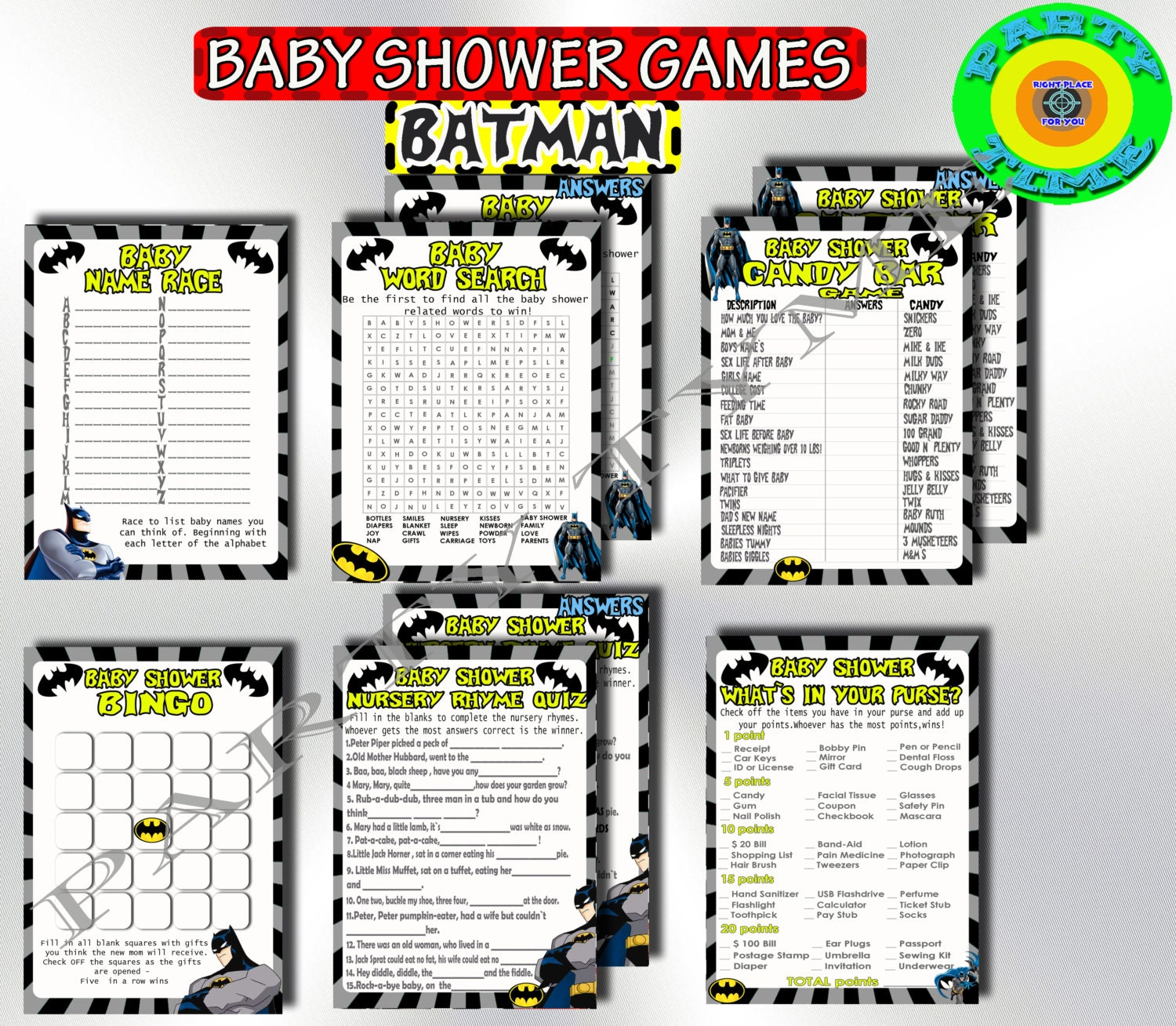 baby shower games batman set printable shower by partytimedigital