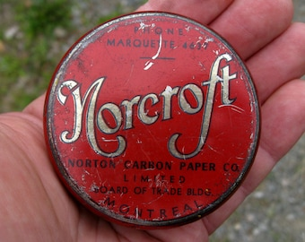 1930'S NORCROFT MONTREAL Round Tin Metal Box ,The only one known